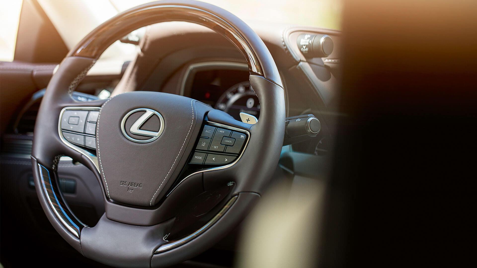 2018 lexus ls features leather steering wheel