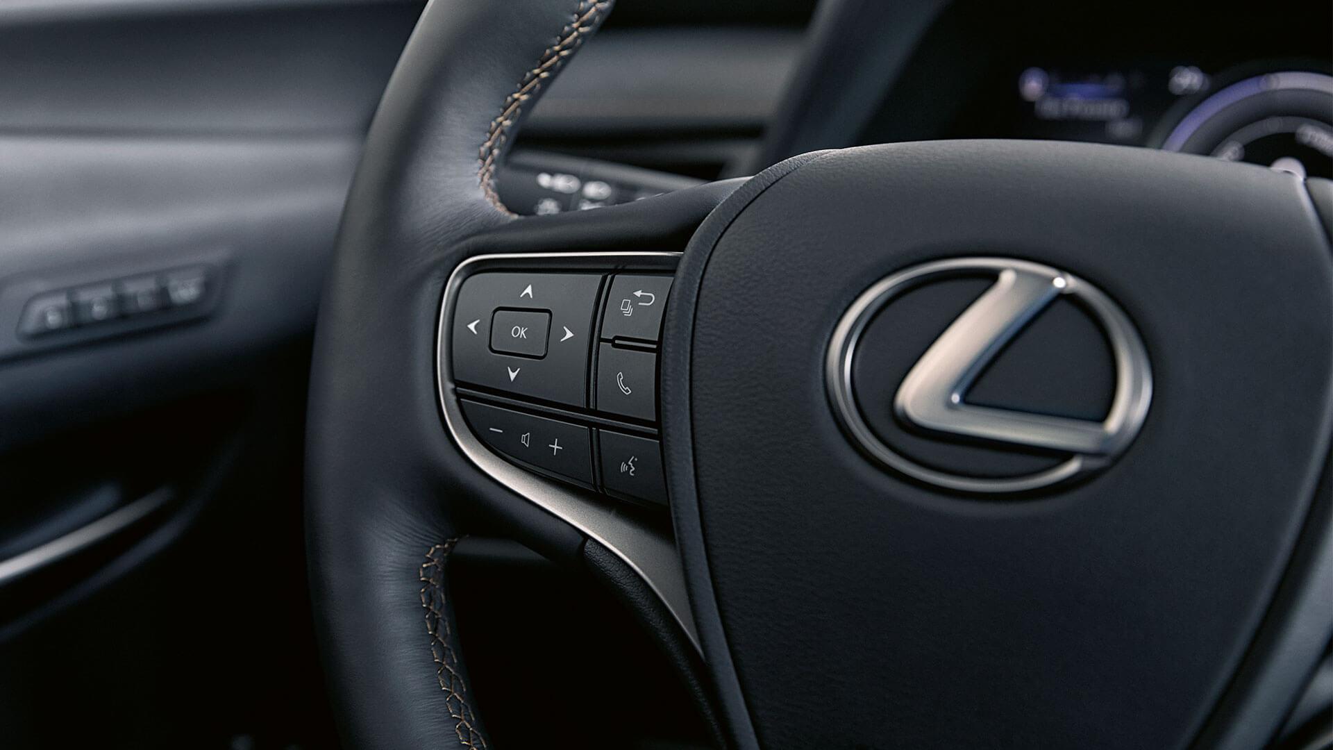 Lexus UX Lenkrad mit Funktionen Nahaufnahme