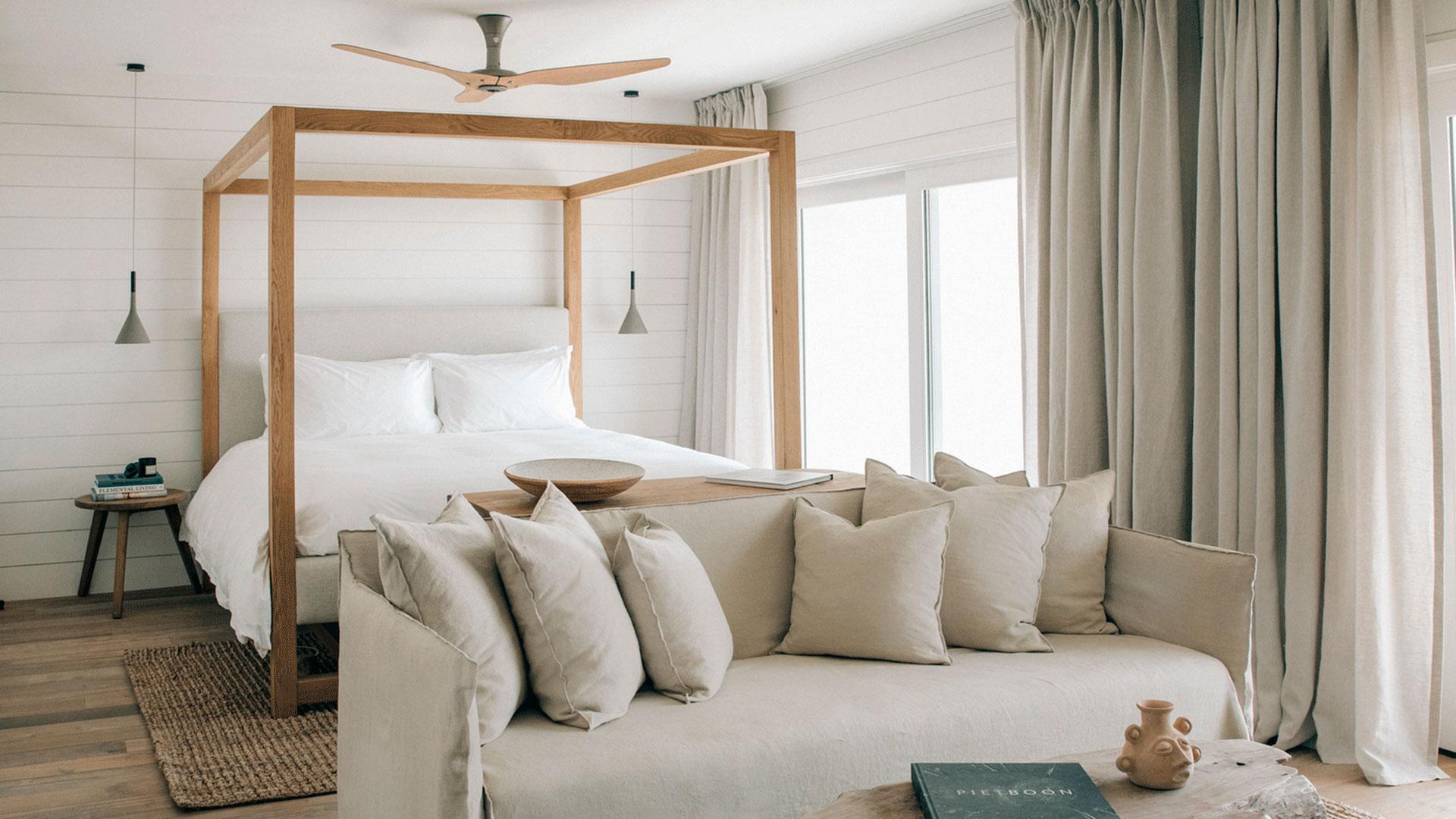 Una de las habitaciones del Hotel Surfrider Malibu