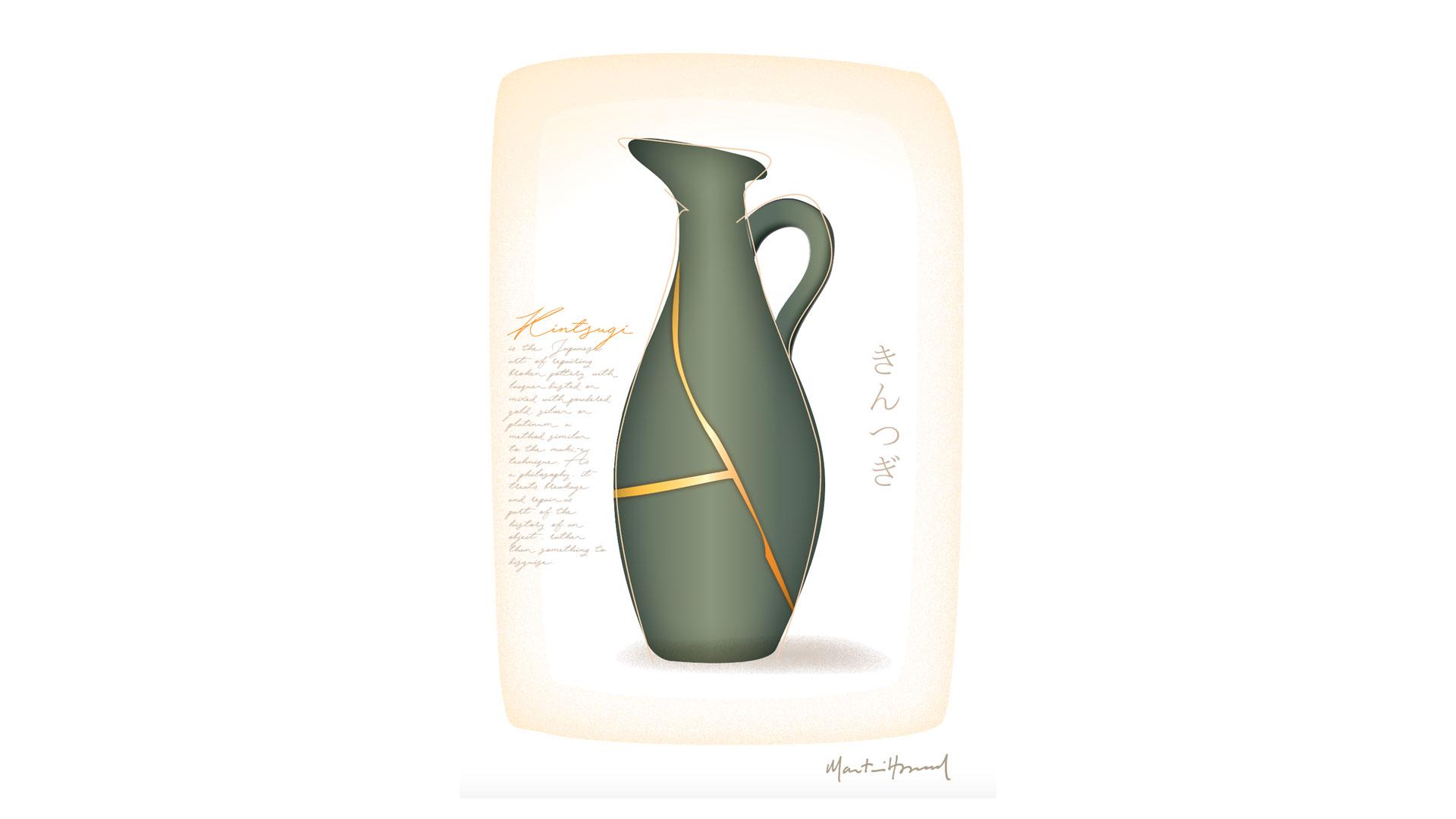 Imagen de cerámica kintsugi japonés