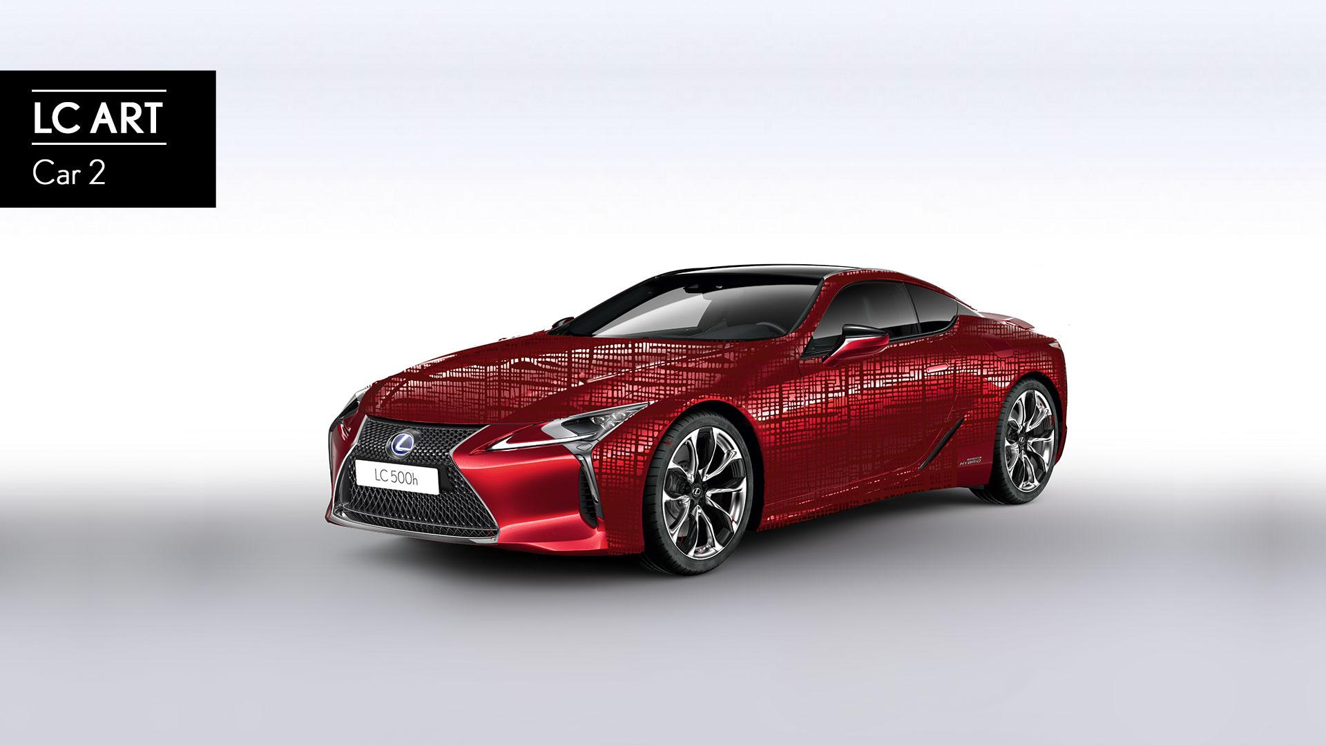 Imagen del LC en color rojo con un diseño impreso