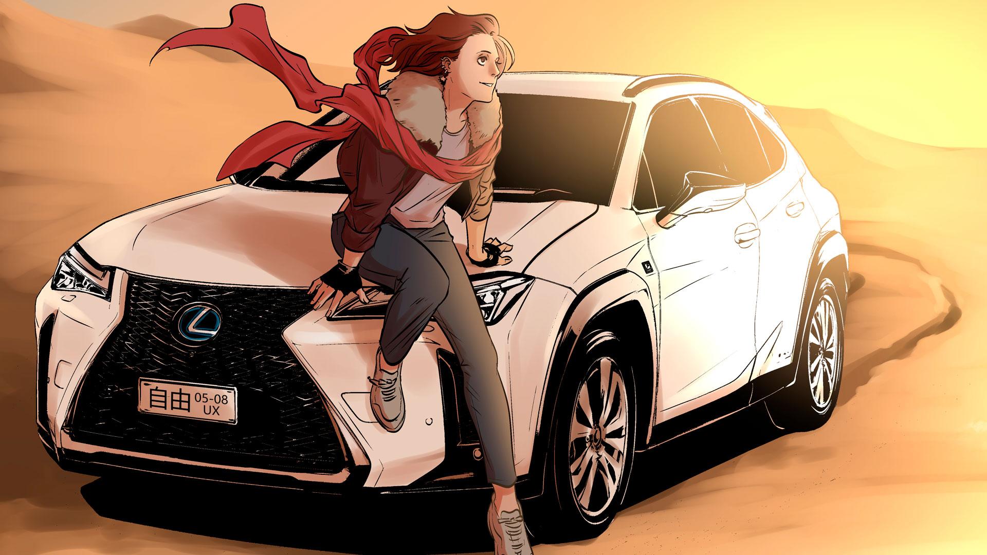 Imagen de una ilustración manga de Lexus