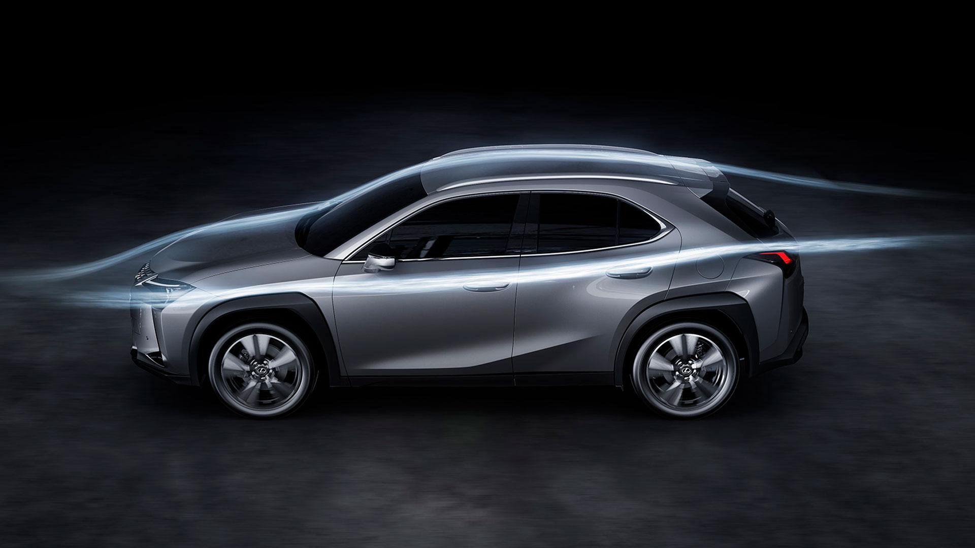 Imagen lateral del Lexus UX 250h en color gris con líneas aerodinámicas
